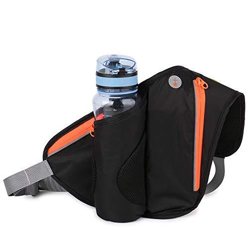 XIAOHE Sport Gürtel Hüfttasche mit Flaschenhalter, Fitness wasserdichte Sporttasche verstellbare Reitsachen, Gürteltasche Laufen mit Reise Bike Wandern Camping,Black