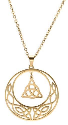 cooltime Edelstahl Irisch Keltischer Knoten Anhänger Kette Vintage Retro Glücksbringer Schmuck (Gold Stil 1)