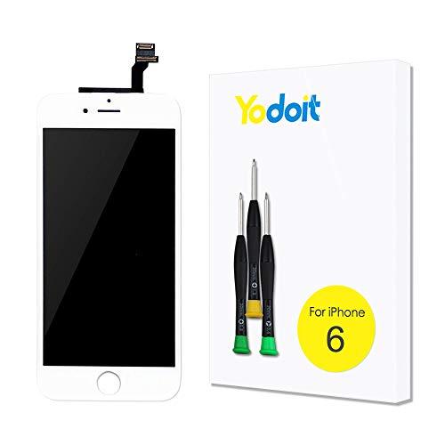 Yodoit para Pantalla iPhone 6 Blanco, Conjunto de Pantalla LCD y digitalizador Reemplazo de la Pantalla táctil de Vidrio con Marco + Kit de Herramientas de reparación (4,7 Pulgadas)