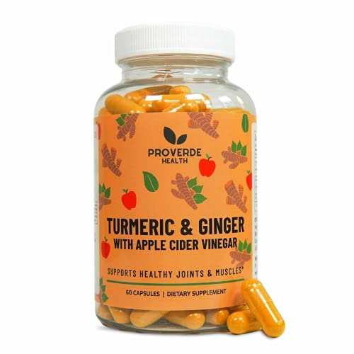 Proverde Health Turmeric & Ginger with Apple Cider Vinegar Pills | Vegan and Non-GMO Capsules | Metabolism Boosting Dietary Supplement | Made in The USA