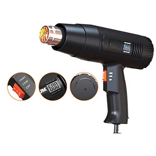 ASWT-heteluchtpistool 2000 W met digitaal LCD-scherm, 2 snelheidsniveaus, instelbare temperatuur 50~600 °C (zwart)