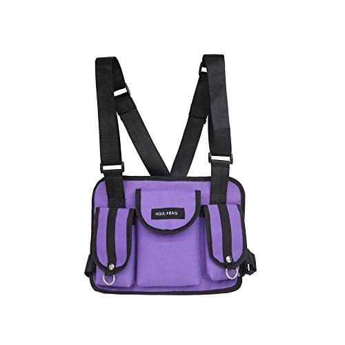 Harness Brust Vorne Packung Beutel Holster Weste Rig Brust Rig Streetwear Taktische Brust Tasche Funktionale Paket-Purple