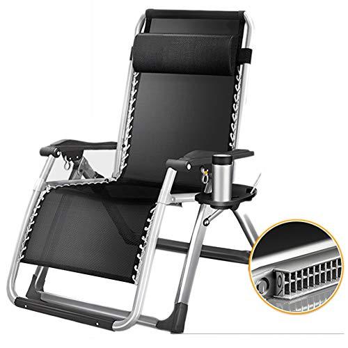 TH Chaise Longue Chaise Inclinable À Usage Intensif avec Oreillers, pour Chaise Longue D'extérieur de Jardin Patio Travel Holiday, Facile À Ranger Et À Transporter Noir