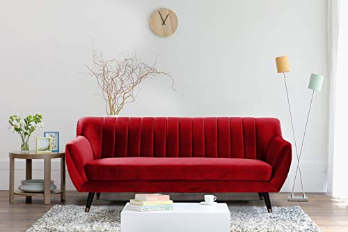 Mobilier Déco. Canapé 3 Places Velours Rouge Louise