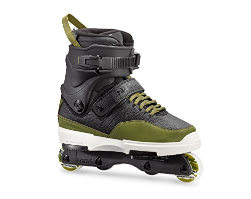 Rollerblade NJ Pro Unisex Adult Street Inline Skate, Black and Army Green, Premium Inline Skates, 8