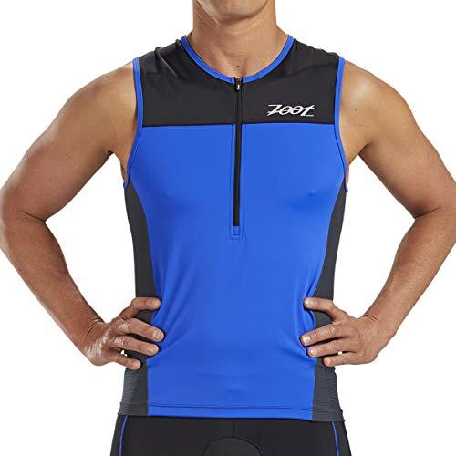 Zoot Men's Core Tri Tank - Performance Triathlon Top with Mesh Panels and 3 Pockets (Royal Blue, Medium)