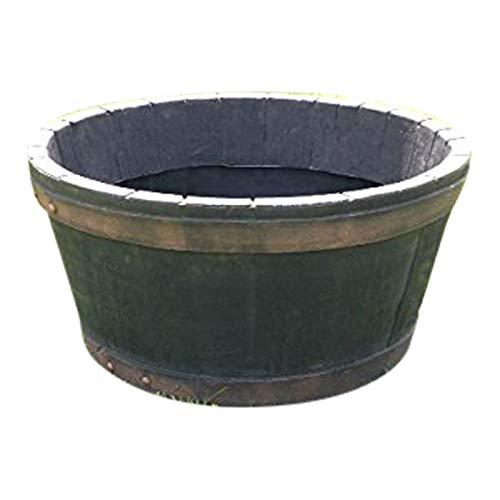 UK-Gardens Round Oak Wooden Effect Resin Garden Barrel Planter Pot 49cm Indoor Outdoor