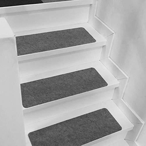 15er Set Treppenstufen Matten Grau rutschfest Stufenmatten Set Innen Selbstklebend Stufenteppich Treppenteppich Waschbar Treppenstufenteppiche für Kinder, Älteste und Haustiere