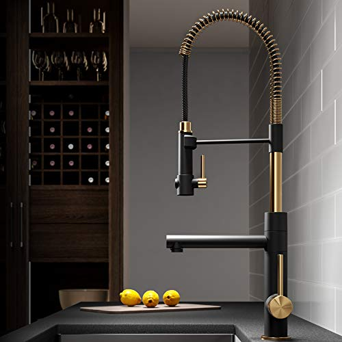 KRAUS Artec Pro 2-Function Commercial Style Pre-Rinse Kitchen Faucet with Pull-Down Spring Spout and Pot Filler, Brushed Gold/Matte Black Finish