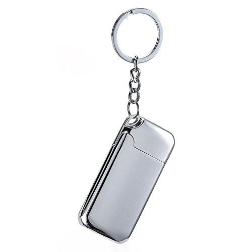 Sun_lighter Sun Lighter Feuerzeug mit Heizdraht, USB-aufladbar, elektronischer Wolfram-Draht, Zigarettenanzünder mit Schlüsselanhänger, Flammenlos, windfest, silber silber