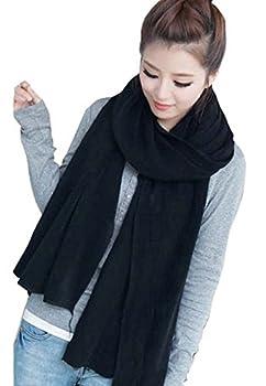 Wander Agio Women s Warm Long Shawl Winter Warm Large Scarf Pure Color Black