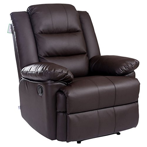 Loxley Bonded Leather Recliner Armchair Sofa Home Lounge Chair Reclining Gaming (Brown)