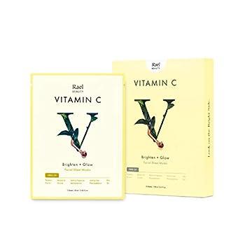 Rael Bamboo Face Sheet Mask - Natural Facial Mask with Vitamin C Serum for Brightening Vitamin C 5 Sheets