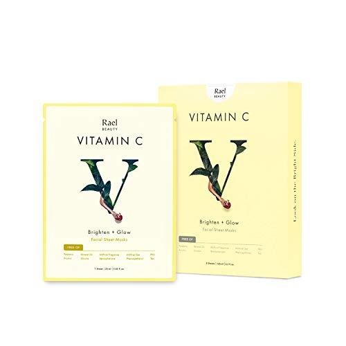 Rael Vita - Máscara facial para dar luminosidad con vitamina C (5 hojas): máscara facial antioxidante dar luminosidad, resplandor y refinamiento