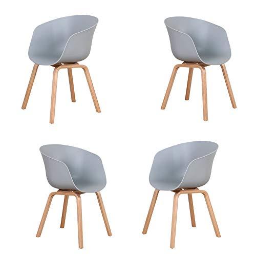 Set di 4 Moderne Sedie da Pranzo con Gambe in Legno Massello Imbottite, Adatte per Cucina, Sala da Pranzo, Soggiorno e Camera da Letto (Grigio)