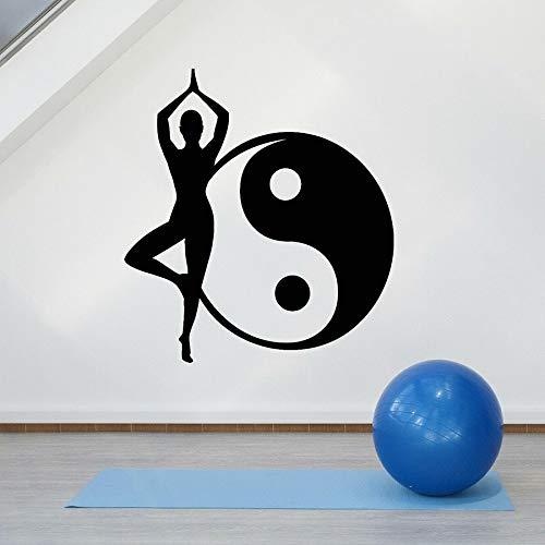 HGFDHG Yoga Pared calcomanía Pose Yin Yang símbolo Zen meditación Relajante habitación Dormitorio decoración del hogar Vinilo Pared Pegatina Ventana Arte Mural
