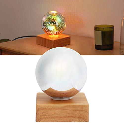 FECAMOS Bola de luz de Luna, luz de Noche con Enchufe USB con Soporte de Madera para mejoras en el hogar para bebés, niñas y niños para Regalos de Festivales de cumpleaños