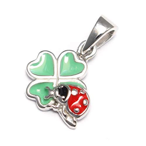 Klaverblad met klavertje in vier blaadjes, 925 sterling zilver, St Patrick's Day, hanger klavertje lieveheersbeestje, bedelarmband zilver