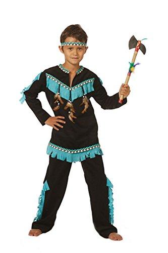 Indianer-Kostüm Kinder Jungen schwarz mit Fransen türkis, Oberteil und Hose Adler Falke Apache Karneval Fasching Hochwertige Verkleidung Größe 128 Schwarz/Türkis