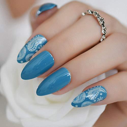 DQPCC Faux ongles Nail Art Tips White Coral Sea World Fake Nails Conçu Appuyez sur 24