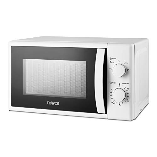 Tower T24034WHT Microwave with 5 Power Levels and 35 Minute Timer, 20 Litre Capacity, 700 Watts, White