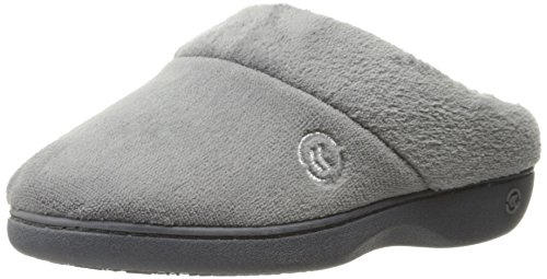 isotoner Women's Terry Slip In Clog, Memory Foam, Comfort and Arch Support, Indoor/Outdoor, Ash, 8.5-9 M US