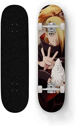 Skateboard para Duidagara Anime Double Double Patinea Full Skateboard Naruto Skateboard D Maple con 7 Capas Cortadores completos de 31 Pulgadas Skateboard Concav
