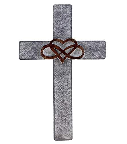 Infinity Heart Wall Cross - Rustic Stone Look Decorative Spiritual Art Sculpture