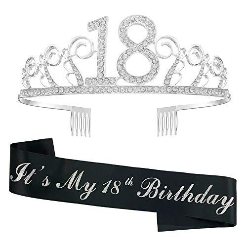 Crown Stirnband 18 Geburtstag Tiara Strass Frauen Kristallkrone mit Kämmen Silber für 18. Geburtstag Geschenk Party Zubehör mit Es ist mein 18. Geburtstag Black Sash