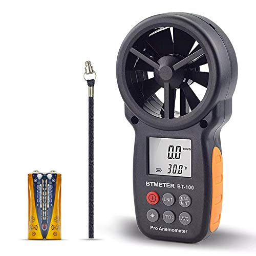 BTMETER BT-100 Handheld Anemometer Digital Wind Speed Meter Gauge for HVAC CFM Tester Air Flow Velocity, Wind Chill, 14℉-113℉ Wind Temperature