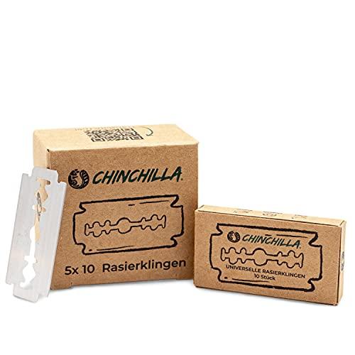 Paquete de 50 hojas de afeitar Chinchilla para maquinillas de afeitar de seguridad | Cuchillas de repuesto de acero inoxidable para maquinillas de afeitar para mujeres y hombres
