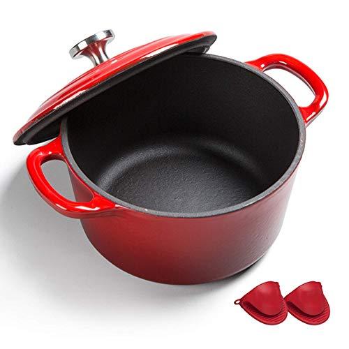 POETRY Dutch Oven avec Double poignée en Fonte émaillée Dutch Oven avec Couvercle Round Ustensiles de Cuisine en émail antiadhésif Crock Pot pour la Cuisson et la Cuisson (16 cm) Rouge