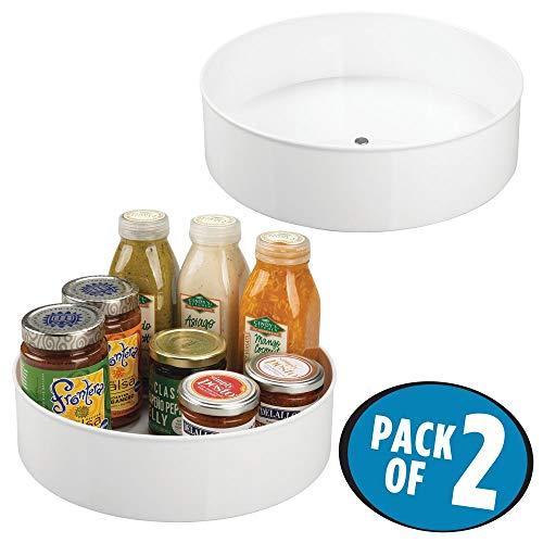 mDesign Lazy Susan plateau tournant (lot de 2) – accessoire de rangement à épices pratique pour le placard de cuisine – carrousel cuisine pivotant en plastique – blanc