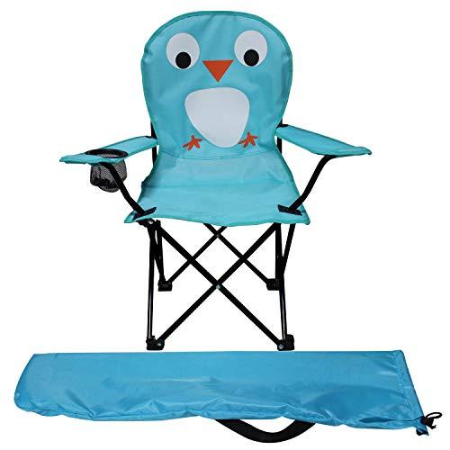 Kinder Anglersessel Blau Campingstuhl Faltstuhl Anglerstuhl Motiv Vogel mit Getränkehalter und Tasche