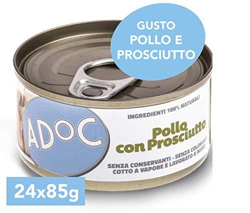 Adoc - Cibo Umido per Gatti Adulti con Ingredienti Naturali Pollo con Prosciutto - 24 lattine da 85gr