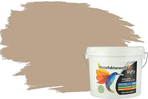 RyFo Colors Bunte Wandfarbe Manufakturweiß Camelbraun 6l - weitere Braun Farbtöne und Größen erhältlich, Deckkraft Klasse 1, Nassabrieb Klasse 1