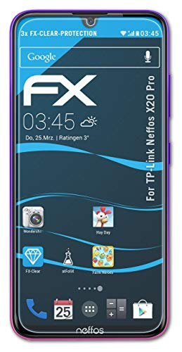 atFolix Schutzfolie kompatibel mit TP-Link Neffos X20 Pro Folie, ultraklare FX Bildschirmschutzfolie (3X)