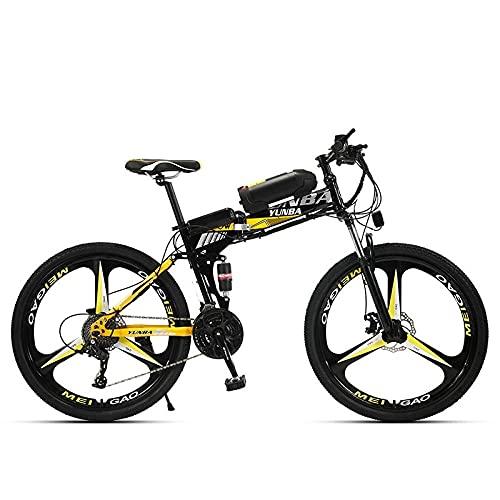 Litio Eléctrico Eléctrico, Bicicleta De Montaña, 26 Pulgadas 21 Velocidad 36V, Vehículo Eléctrico Adulto-Alto con Amarillo Negro De Tres Cuchillos_36V 8A 26 Pulgadas 271 Velocidad,