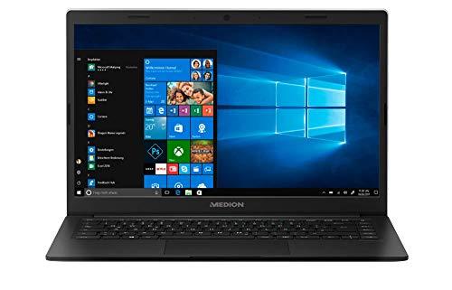 """Medion E4251 - Ordenador portátil ultrafino 14"""" FullHD (Intel Celeron N4000, 4GB RAM, 64GB de almacenamiento, Windows 10) color negro - Teclado QWERTY Español"""