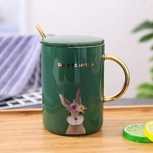 HGFER Kaffeetassen Mug,400Ml Keramik Moderne Grüngold Rand Blume Cartoon Hase Tier Mit Griff Deckel Löffel Wiederverwendbare Tee Milch Espresso Tasse Geschenk Für Mutter Frauen Ehemann Freund Kinder