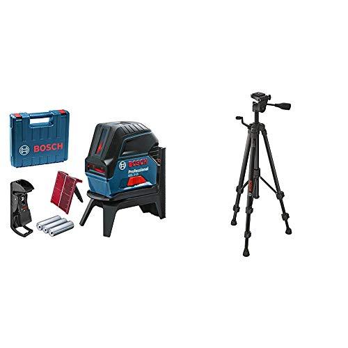 Bosch Professional Kreuzlinienlaser GCL 2-15 (roter Laser, Innenbereich, mit Lotpunkten, Arbeitsbereich: 15 m, 3x AA Batterien) & Baustativ BT 150 (55-157 cm, 1,5 kg, Stativ-Gewinde 1/4 Zoll)