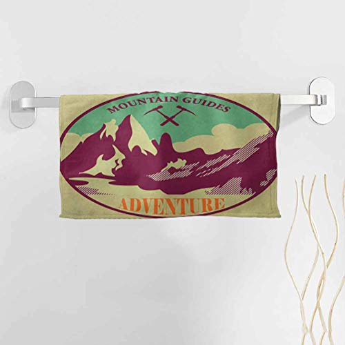 alisoso Adventure Best Towels 28x12 Inch Journey Mountain Guides Trekking Climbing Camps Tourism Vivid Colorful Art Print Hand Towels for Bathroom