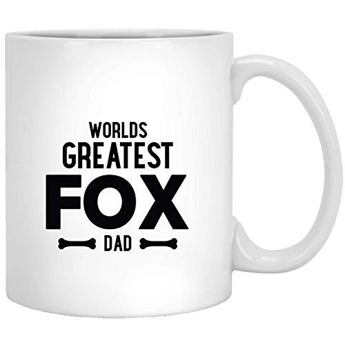 Grappige mok met vossenwereld, hond en papa, grappig cadeau voor dierenliefhebbers, wit