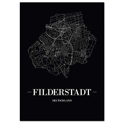 JUNIWORDS Stadtposter, Filderstadt, Wähle eine Größe, 30 x 40 cm, Poster, Schrift A, Schwarz