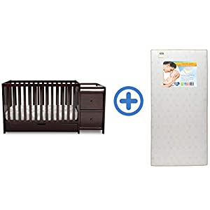 Delta Children Heartland Convertible Baby Crib N Changer with Drawer & Twinkle Stars Waterproof Fiber Core Crib and Toddler Mattress, Dark Chocolate