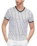 PAUL JONES Herren Kurzarm V-Ausschnitt Schwarz & Weiß Streifen Schiedsrichter Shirt Trikot Uniform - Weiß - Klein