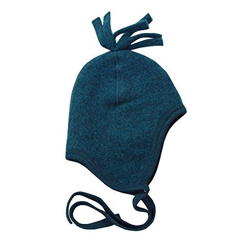 Engel-Natur Baby Mütze aus flauschigem Schurwoll-Fleece kbT (86/92, Petrol Melange)