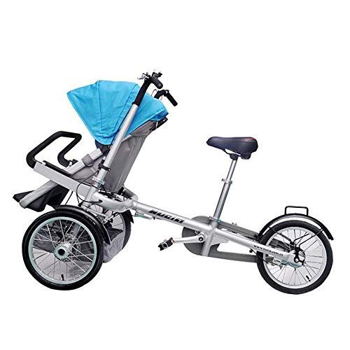 SKLLA Fahrradkinderwagen Faltbare Mutter-Kind-Auto Eltern-Kind-Auto Mit Kindersitz Mutter-Kind-Auto Fahrmodus + Kinderwagen-Modus (3 Farben E),Blue
