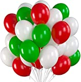 Prextex 75 Christmas Party Balloons 12 Inch Red, Green and White Balloons with Ribbon for Christmas Decorations or Xmas Color Themed Party, Weddings, Baby Shower, Birthday Parties, Helium Quality
