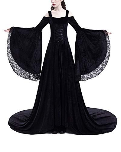 Costumi di Halloween Donne Abiti in Pizzo con Spalle Scoperte Medievali Vestito Regina Principessa Adulto Nero S